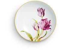Dish, Flower painting 'tulips', coloured, lim., num., gold rim, ø 22,5 cm