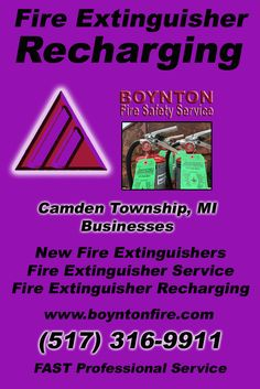 Fire Extinguisher Recharging Camden Township, MI.  (517) 316-9911 Check out Boynton Fire Safety Service.. The Complete Source for Fire Protection in Michigan. Call us Today!