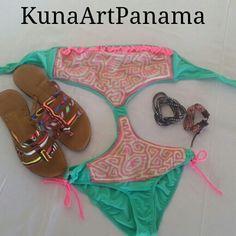 Vestidos de baños elaborado con mola y sandalias de mola. #kunaartpanama