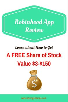 Robinhood app allows investors to buy and sell stocks with no commission, no minimum deposit requirement, and no maintenance fee.  Learn about how you can get a free share of stock. | money apps | stock trading app | how to trade stock | earn money via @savingchamps
