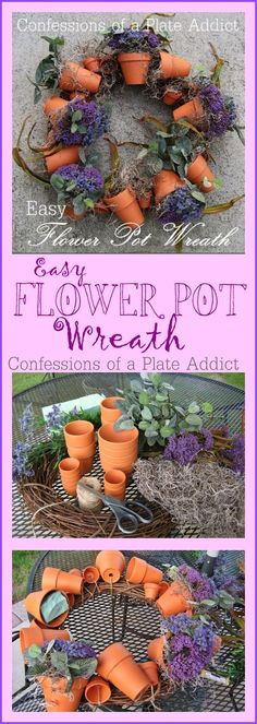CONFESSIONS OF A PLATE ADDICT: A Spring Favorite...My Easy Flower Pot Wreath