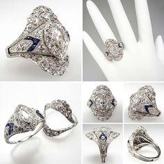 Vintage engagememt and wedding ring set