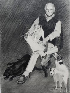 Charcoal portrait drawing of a man and his dogs.  Artist:  Charlotte Partridge