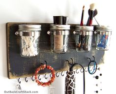 Flat Iron Holder; Curling Iron Hanger; Hair Accessory Organizer; Black Decor; Mason Jar Decor; Rustic Decor; Custom orders welcome! by OutBackCraftShack on Etsy https://www.etsy.com/listing/234521469/flat-iron-holder-curling-iron-hanger