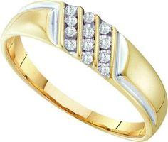 10KT Yellow Gold 0.12CTW DIAMOND FASHION MENS RING: Rings