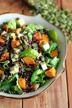 Warm Sweet Potato & Quinoa Salad with Spicy Peanut Sauce http://www.ilovevegan.com/warm-sweet-potato-quinoa-salad-with-spicy-peanut-sauce/