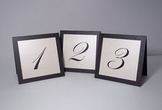 Black and Ivory Shimmer Tent Wedding Table Number Cards on Etsy, $1.81