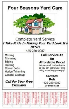 Lawn care invoice design templates gopherhaul for Garden maintenance flyers