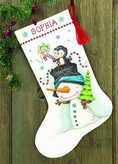 Веселое трио, новогодний сапог. Вышивка / Embroidery. Рождество, Новый год. Kits for embroidery. Набор для вышивки крестом Dimensions. Поделки своими руками, подарок.