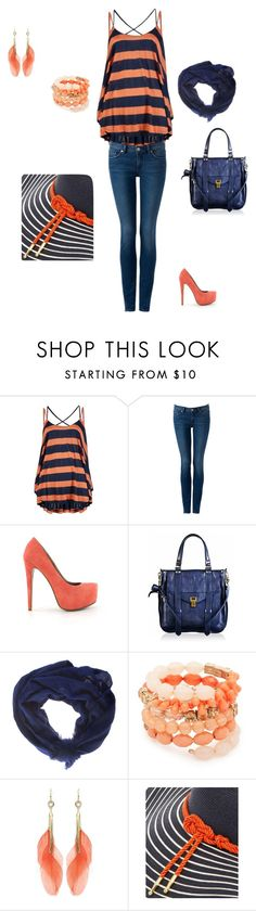 """""""coral and navy yum"""" by valwhi-vw ❤ liked on Polyvore featuring The Addison Story, Nly Shoes, Proenza Schouler, Faliero Sarti, MOOD and Eugenia Kim"""