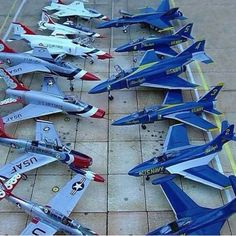 This is a great pic depicting the evolution of aircraft types used by the thunderbirds (US air force) and the blue angels (US navy). Military Jets, Military Aircraft, Military Weapons, Fighter Aircraft, Fighter Jets, Us Navy Blue Angels, Civil Air Patrol, F4 Phantom, Old Planes