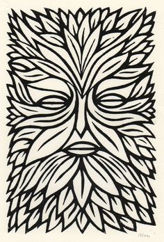 The green man. Linocut by Alan Rogerson http://www.etsy.com/listing/60921426/the-green-man-linocut