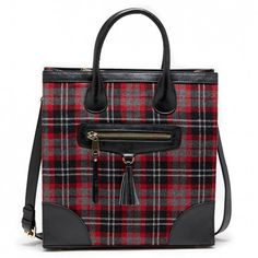 sole society plaid-printed tote with a front zipper, top handle and removable crossbody strap.