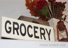 Kitchen SignWooden GROCERY Sign by orangeblossomshopaz on Etsy, $30.00