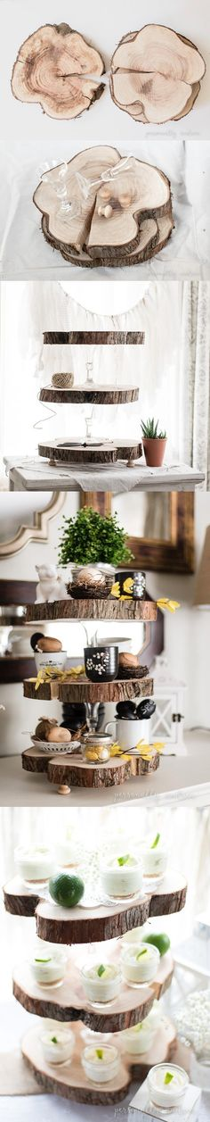 Bandeja DIY de tres alturas - personallyandrea.com - DIY Rustic Three Tier Wood Slice Stand