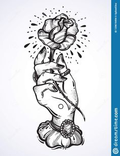 Hand Holding Tattoo, Hand Holding Rose, Hands Holding Flowers, Flower Tattoo Designs, Tattoo Designs Men, Flower Tattoos, Hand Tattoos, Blackwork, Tatuagem Old Scholl