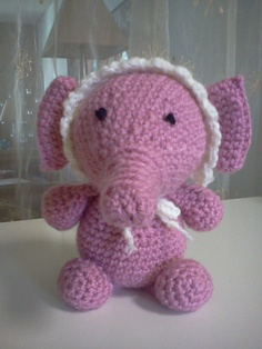 Amigurumi Baby's Pink Elephant. I made this for a Baby Shower for one of my fellow WeHo SnB members.