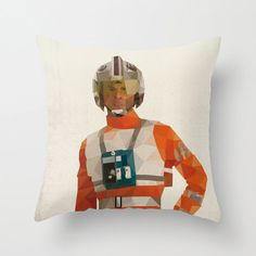 X-Wing Pilot Star Wars Pillow Cushion Cover Polygon Art Home Decor Vintage Style Science Fiction Sci Fi Character
