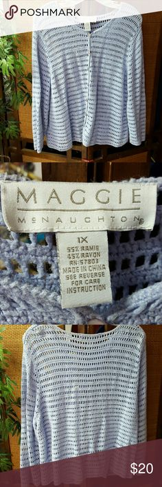 Maggie McNaughton Lavender Cardigan Good used condition, crocheted cardigan Maggie McNaughton Sweaters Cardigans