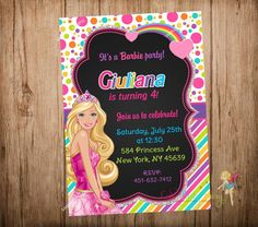 Barbie Invitation Rainbow Barbie Party por CutePartyFairy en Etsy