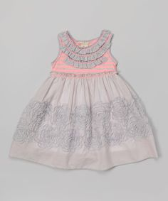 Look at this Pink Vanilla Gray & Neon Pink Ruffle Rosette Dress - Toddler & Girls on #zulily today!