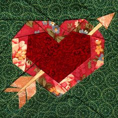 Heart in a heart and arrow paper piece pattern