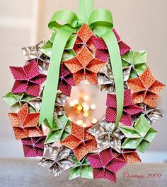 Folding Trees Origami Christmas wreath paper folding tutorial