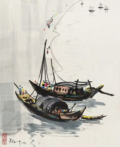 Wu Guanzhong: Water Village in Jiangnan Japan Painting, Boat Painting, Chinese Boat, Chinese Plants, Wu Guanzhong, Chinese Picture, Chinese Drawings, Tinta China, Chinese Landscape