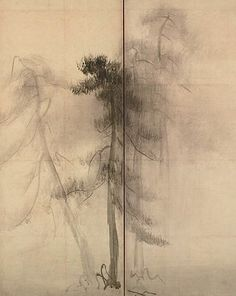 "Pine Trees"" by Hasegawa Tōhaku (Japanese, The painting has been designated as National Treasure in the paintings century. Left screen of a pair of six-folded screens; ink on paper. Japanese Screen, Japanese Art, Zen Brush, Pine Tree Painting, Chinese Painting, House Painting, Asian Art, Watercolor Flowers, Tree Drawings"