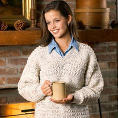 In-Vogue V-Neck Pullover Sweater Crochet Pattern from Leisure Arts. Find it here: http://www.leisurearts.com/products/in-vogue-v-neck-pullover-crochet-pattern-digital-download.html