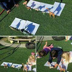 Kinderen zelf laten ontdekken hoe de schaduwen in elkaar zit. Ook handig om te vergelijken: relatie tussen figuur en schaduw tov de bron