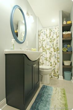 cute little basement makeover blue green bathroom