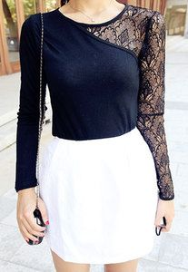 Price:$31.99 Material: Cotton/Lace Color: Black  European Style Elegant Lace Spliced Long Sleeve Shirt