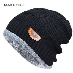 5bfa534f0c8 Men s winter hat 2017 fashion knitted black hats Fall Hat Thick and warm  and Bonnet Skullies Beanie Soft Knitted Beanies Cotton(China)