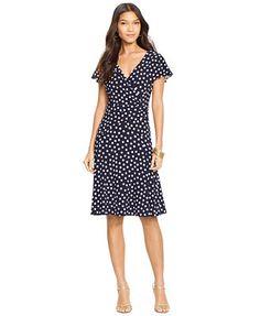 Lauren Ralph Lauren Polka-Dot Surplice Dress