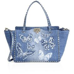 Valentino My Rockstud Small Butterfly-Embroidered Denim Top-Handle Bag (778.105 HUF) ❤ liked on Polyvore featuring bags, handbags, apparel & accessories, denim, embroidered purse, top handle satchel handbags, satchel purses, denim handbags and blue purse