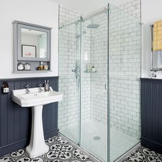 Bathroom makeover with roll top bath statement floor tiles and wood top panelling in this three-bedroom Victorian terraced house in Fordingbridge, Hampshire Bad Inspiration, Bathroom Inspiration, Bathroom Styling, Bathroom Interior Design, Bathroom Designs, Bathroom Ideas Uk, Bathroom Inspo, Bathroom Renovations, Home Renovation