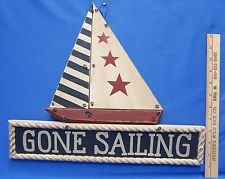 Wood Wooden Wall Hanging Gone Sailing Sail Boat Nautical Sign Plaque Seaside