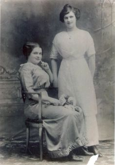 This photo of Katie Gilnagh (seated) and her sister Mary Boshell was taken after Gilnagh survived the sinking of the Titanic. Katie's mother in Ireland would not believe that Katie survived unless she saw a photo of her with Mary (who was already living in New York City). So the sisters had this photo made to prove to their mother that Katie had indeed survived.