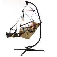 Charming Hanging Hammock Chair/Stand Combo W/ Pillow Drink Holder   Tan