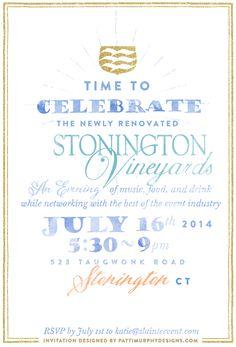 Stonington Vineyards Launch Dinner // Watercolor  event evite design