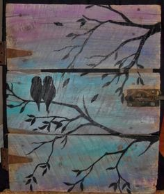 Reclaimed Barn Wood Door - Pair of Birds Painted Wall Art