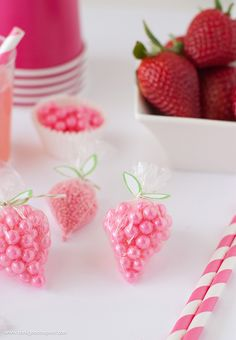 "DIY Strawberry Sprinkle Party Favors | All you need is a plastic bag, string, sprinkles, and the free ""leaf"" printable found on Design Eat Repeat. So easy to make!"