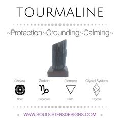 Metaphysical Healing Properties of Tourmaline, including associated Chakra, Zodiac and Element, along with Crystal System/Lattice to assist you in setting up a Crystal Grid. Go to https:/wwwsoulsistersdesigns.com to learn more!