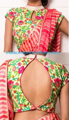 latest blouse designs for back 2015 - Goo gle Search Saree Blouse Neck Designs, Choli Designs, Saree Blouse Patterns, Fancy Blouse Designs, Designer Blouse Patterns, Saris, Stylish Blouse Design, Blouse Models, Collor