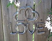 Two Hearts as One Love Recycled Horseshoe Sign- Clear Coat Rust Finish