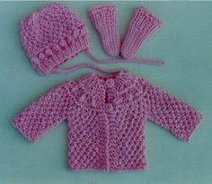 """Baby Gift Set - Fits """"Preemies"""" to 6 months. Also fits many baby dolls! This is fun and fast to knit up! Use worsted weight yarn, and make several of these sets in bright colors. Babies look so cute in bright colors! Easy to knit from the top down. The matching hat is a breeze to knit too. This entire outfit only uses about 6 ounces worsted weight yarn. Use knitting needles, US # 6 and # 13. Good pattern for those to want to knit fast! $2.75"""