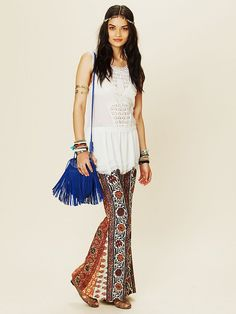Free People Border Print Bell Bottoms,