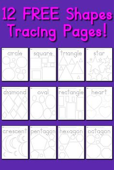 12 FREE Shapes Tracing Worksheets!