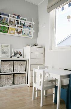 love the railed shelfs for books. kids like this style. love the monochrome.